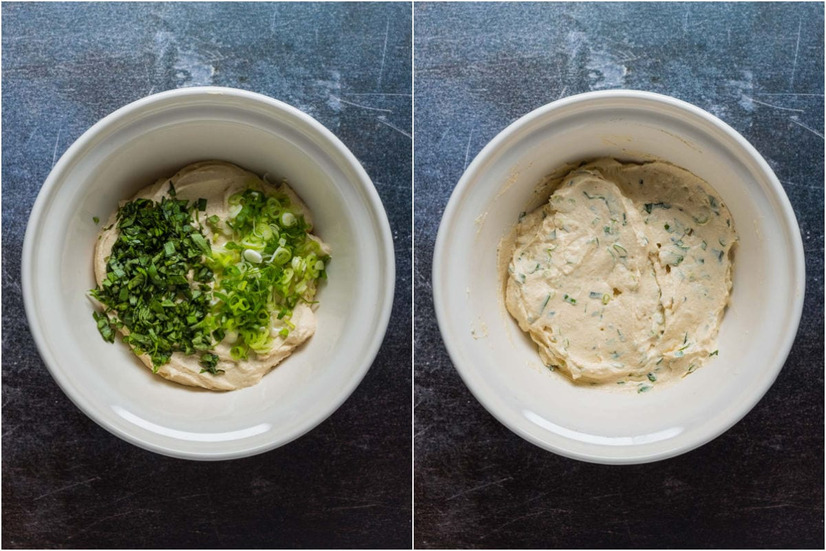 Two photo collage showing spring onions, fresh chopped basil added to cream cheese mix in mixing bowl and mixed together.