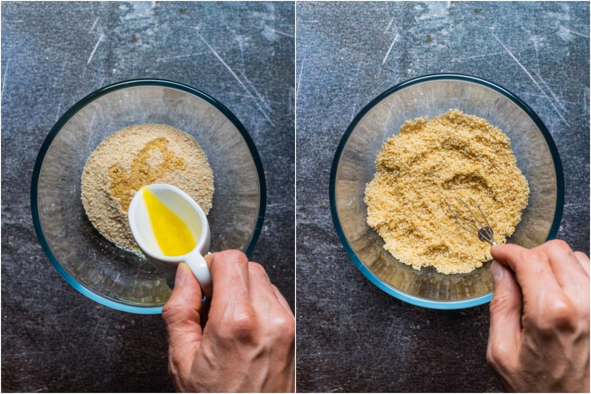 Two photo collage showing melted butter added to breadcrumbs and mixed in.