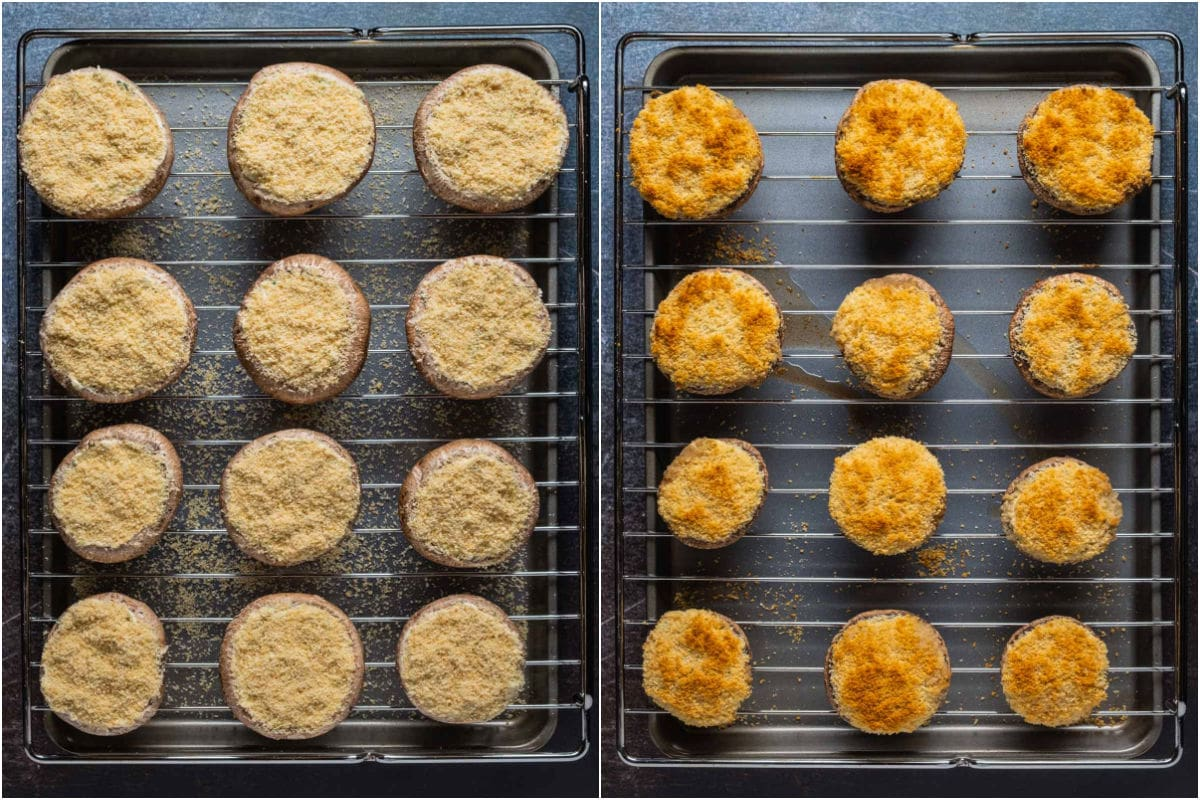 Two photo collage showing stuffed mushrooms before and after baking.