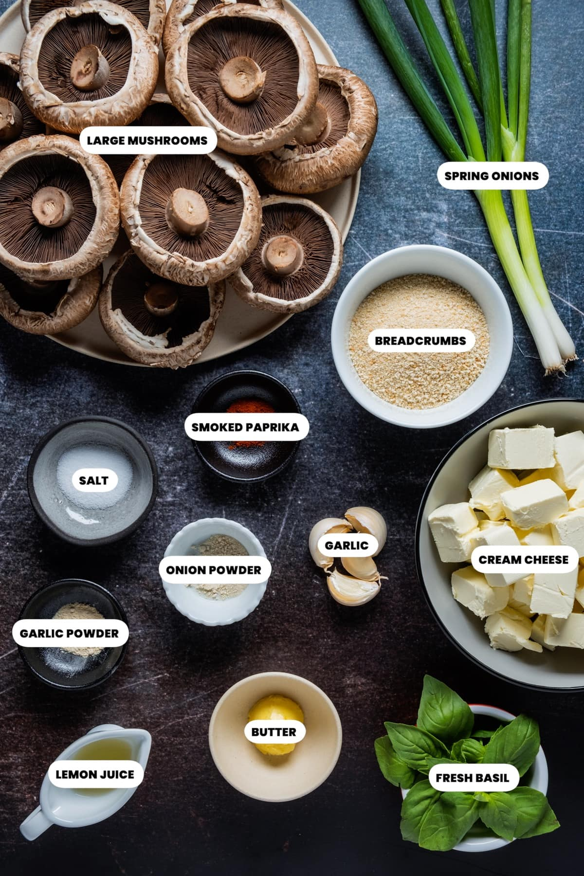 Photo of the ingredients needed to make vegetarian stuffed mushrooms.