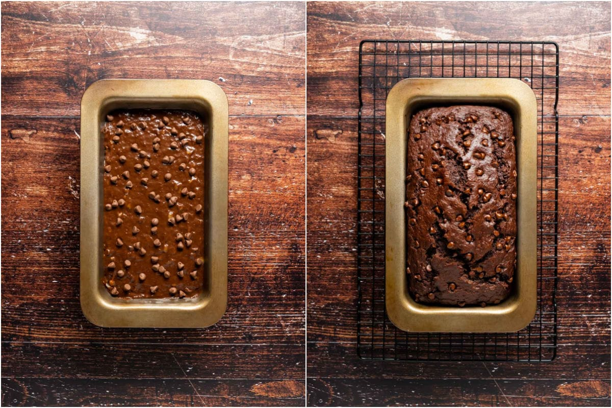 Two photo collage showing chocolate banana bread before and after baking.