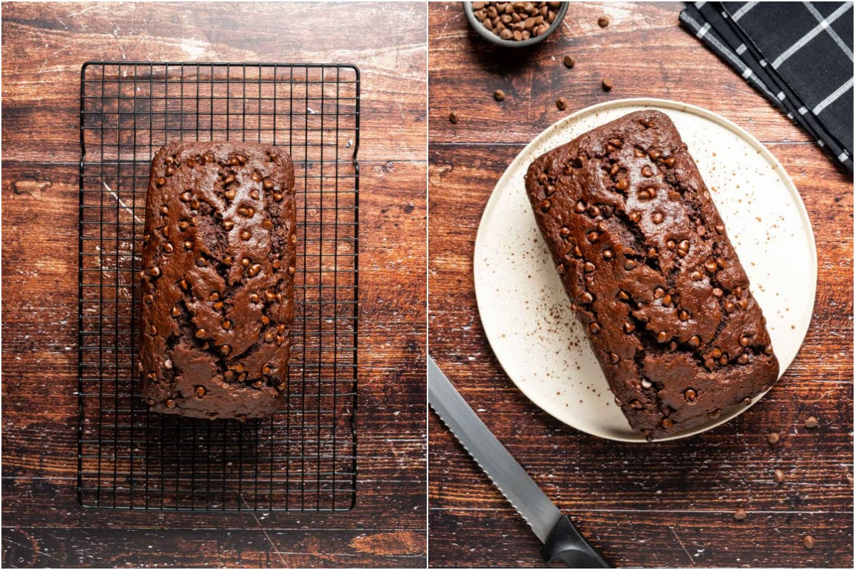 Two photo collage showing chocolate banana bread on a wire cooling rack and then on a white plate ready to serve.