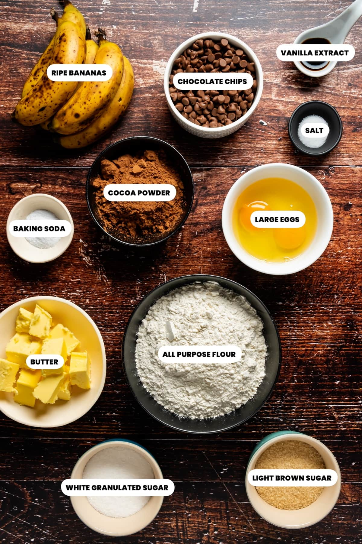 Photo of the ingredients needed to make double chocolate banana bread.