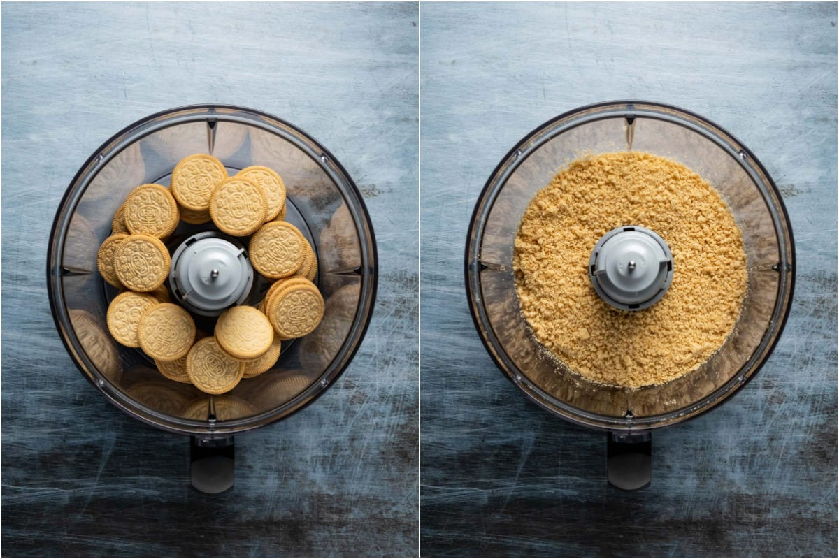 Collage of two photos showing golden oreo cookies added to food processor and processed into crumbs.