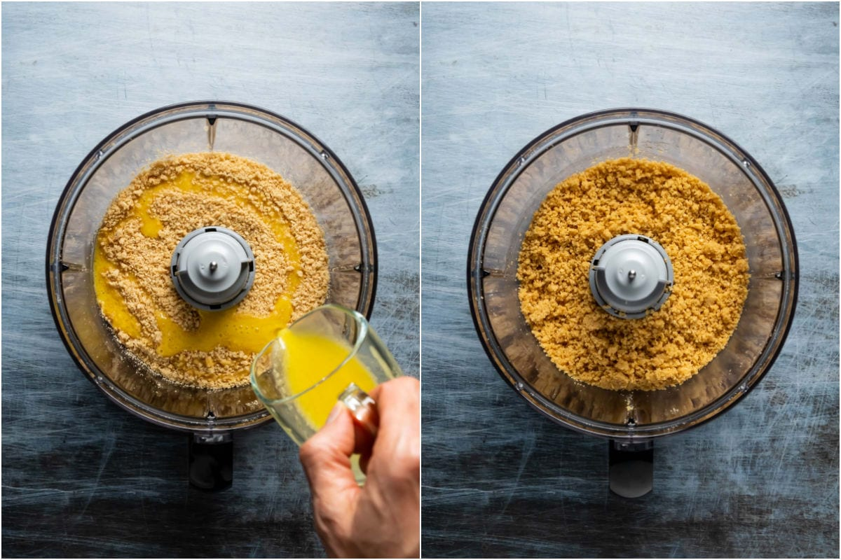 Collage of two photos showing melted butter added to food processor and mixed in with the cookie crumbs.