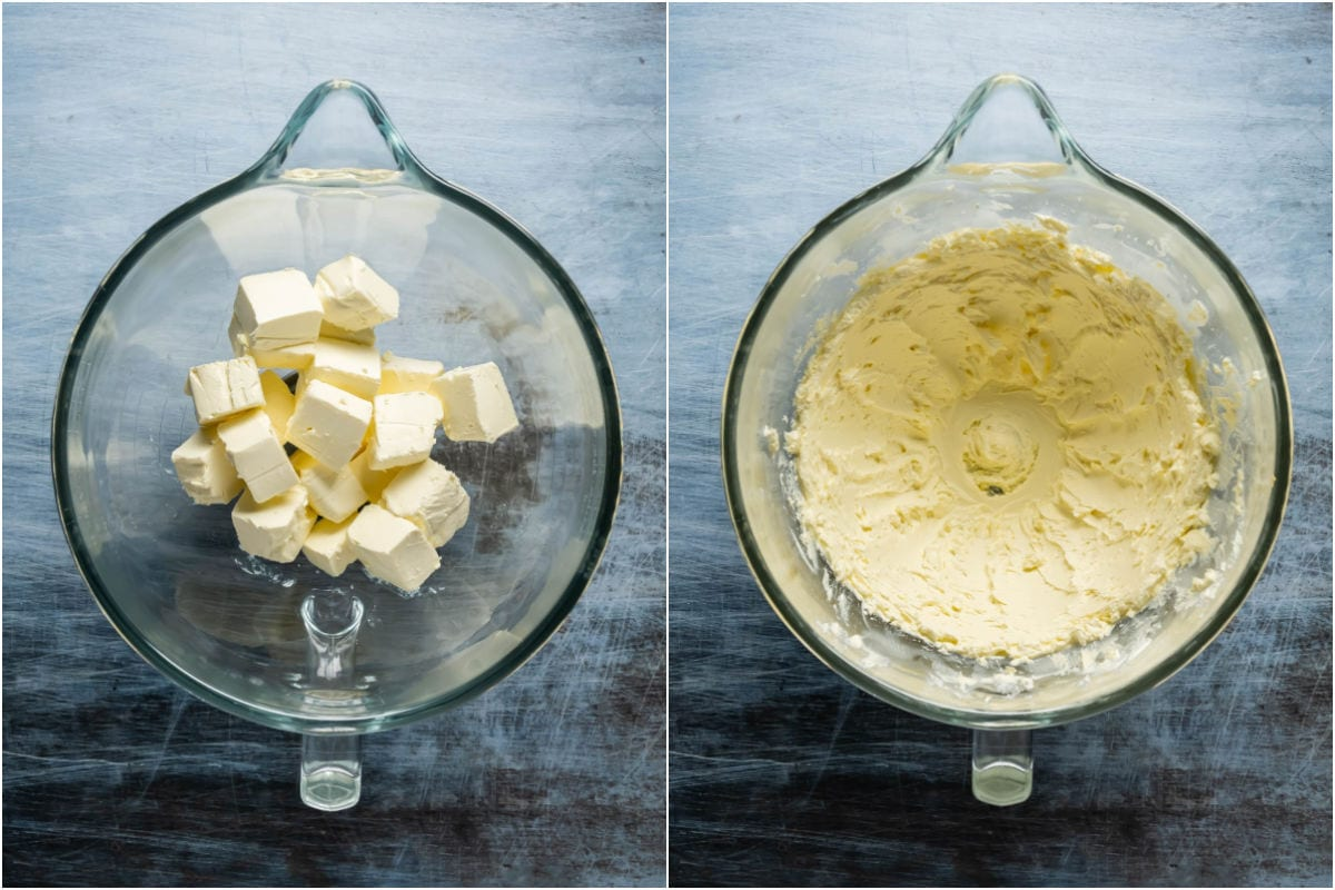 Two photo collage showing cream cheese added to stand mixer and mixed until smooth.