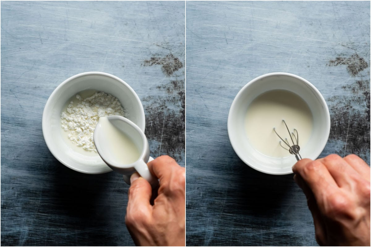 Two photo collage showing cornstarch and milk added to bowl and whisked until smooth.