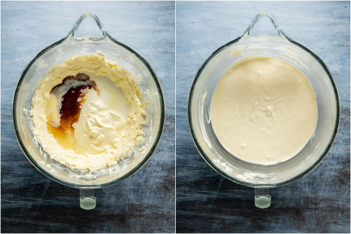 Two photo collage showing sour cream, condensed milk, lemon juice, vanilla and cornstarch mix added to stand mixer and mixed in.