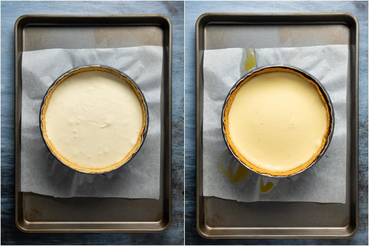 Two photo collage showing filling added to spring form pan and then baked in oven.