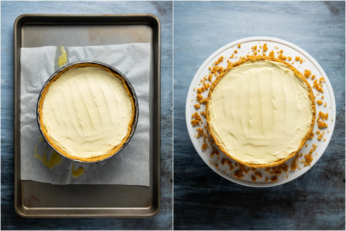 Two photo collage showing sour cream topping added to top of cheesecake and then cheesecake on a white cake stand ready to serve.