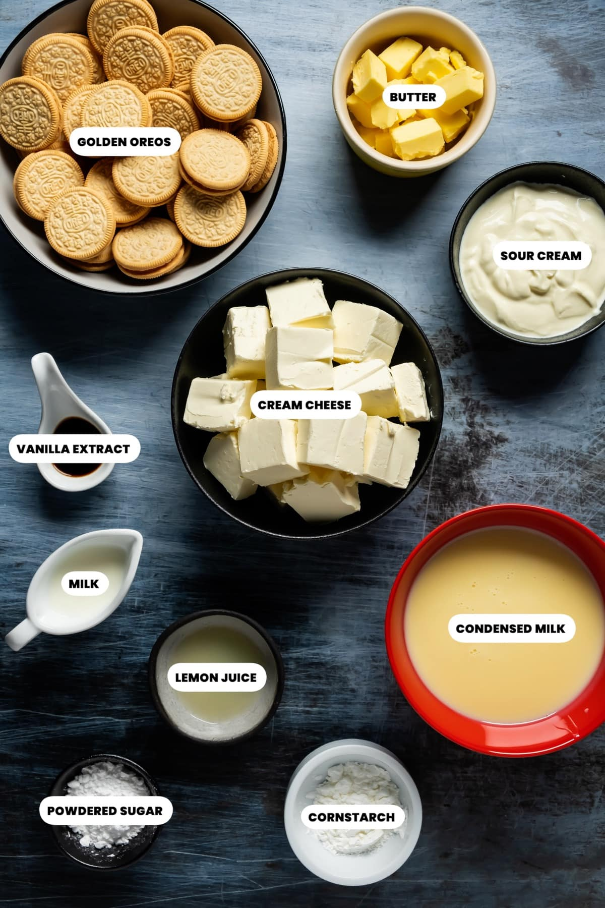 Photo of the ingredients needed to make eggless cheesecake.