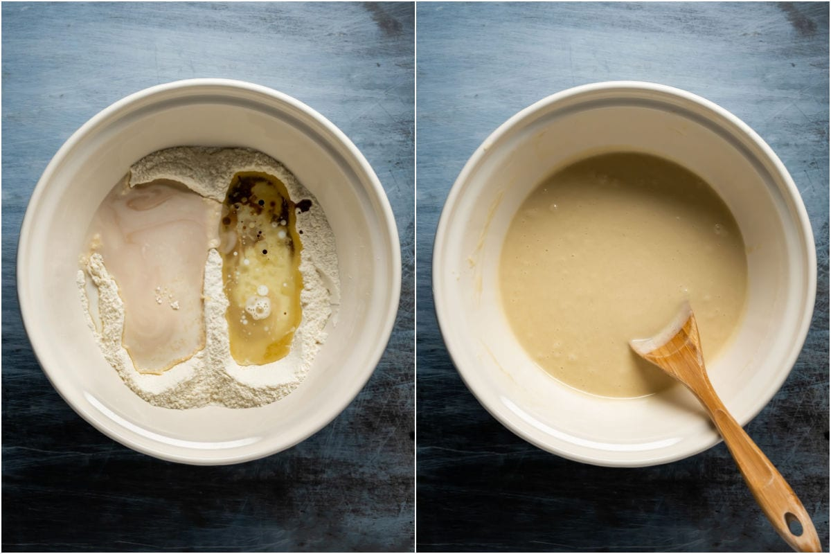 Two photo collage showing wet ingredients added to dry in mixing bowl and mixed into a batter.