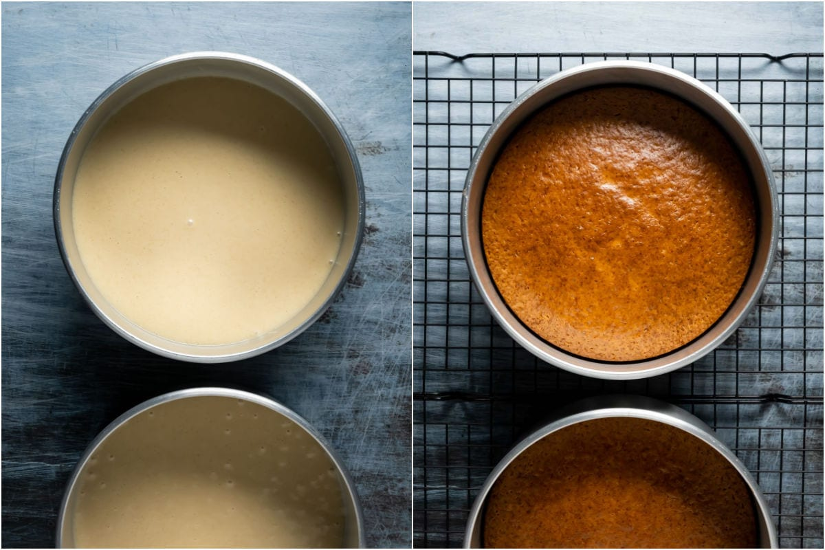 Collage of two photos showing cakes before and after baking.