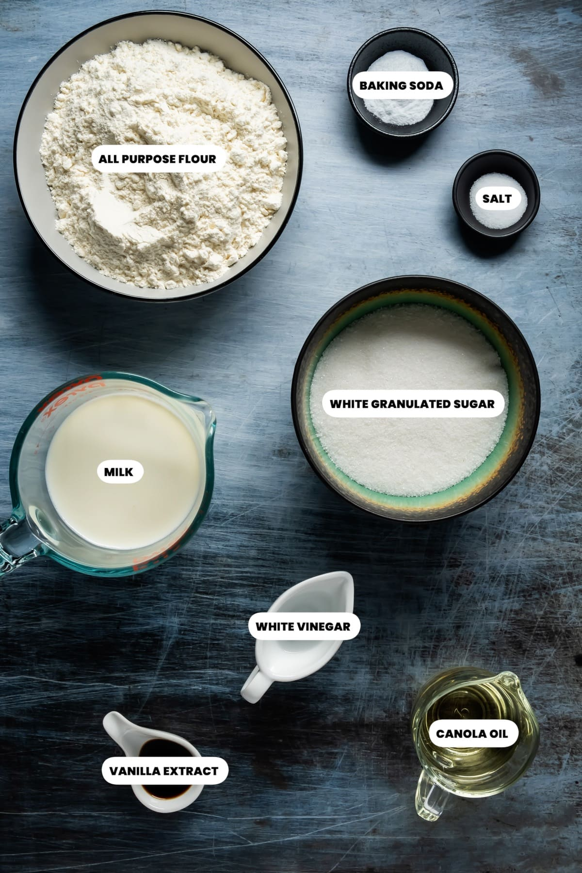 Photo of the ingredients needed to make eggless vanilla cake.