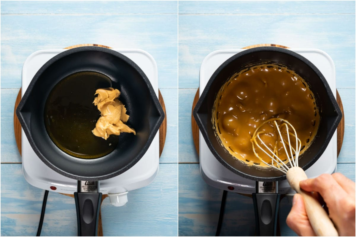 Two photo collage showing peanut butter and honey added to saucepan and heated together until bubbling.