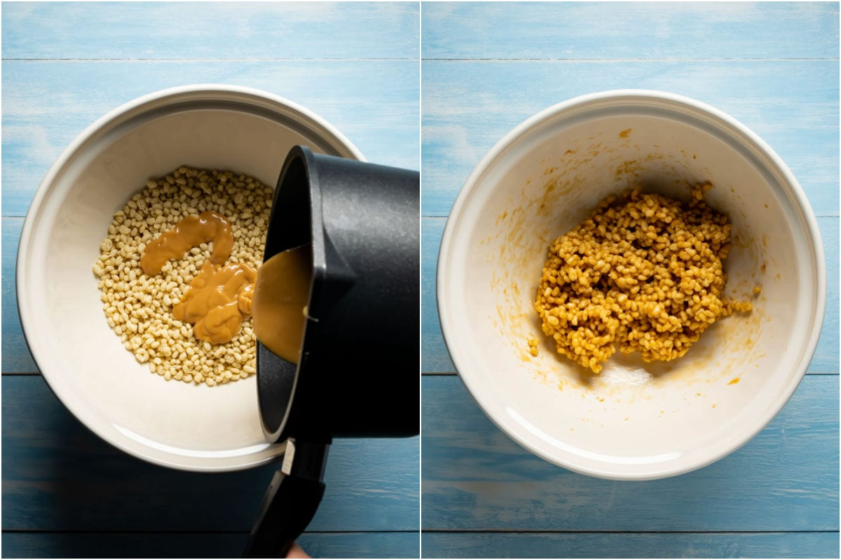 Two photo collage showing peanut butter and honey mix poured over rice krispies in a mixing bowl and mixed in.