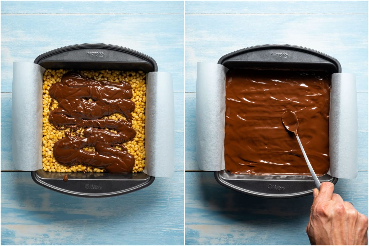 Two photo collage showing melted chocolate poured over rice krispie treats and smoothed down.