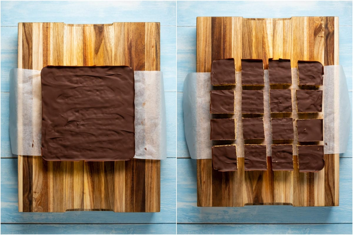 Two photo collage showing rice krispie treats removed from the pan and then cut into squares.