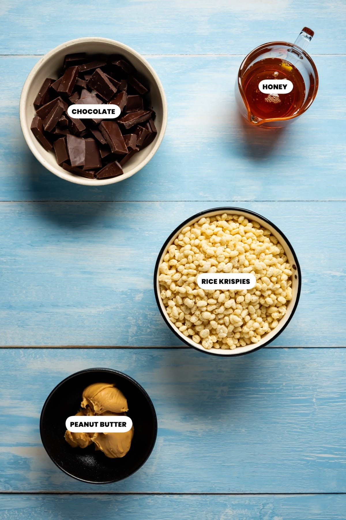 Photo of the ingredients needed to make peanut butter rice krispie treats.