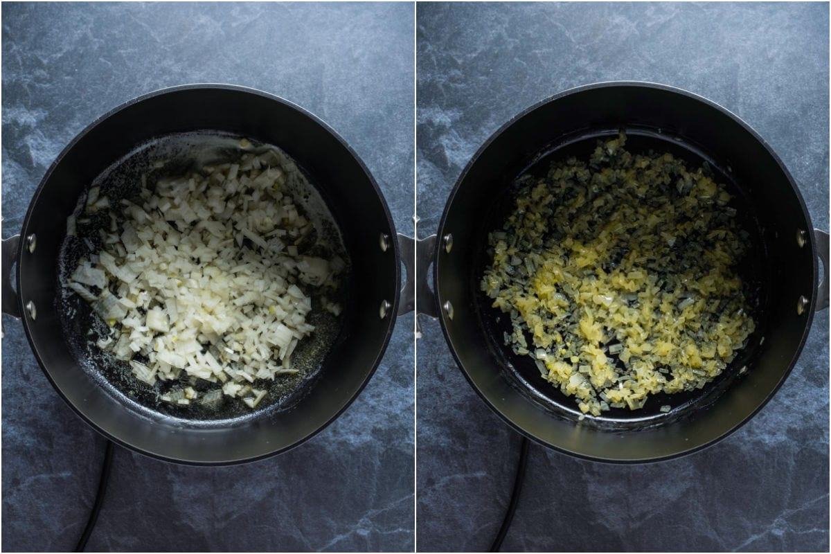 Two photo collage showing chopped onions added to pot and sautéed until softened.