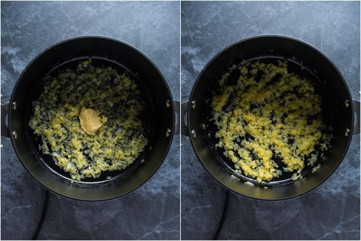 Two photo collage showing crushed garlic added to pot and sautéed with onions.