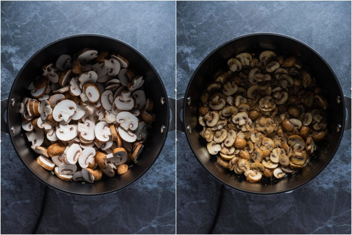 Two photo collage showing sliced mushrooms added to pot and sautéed.