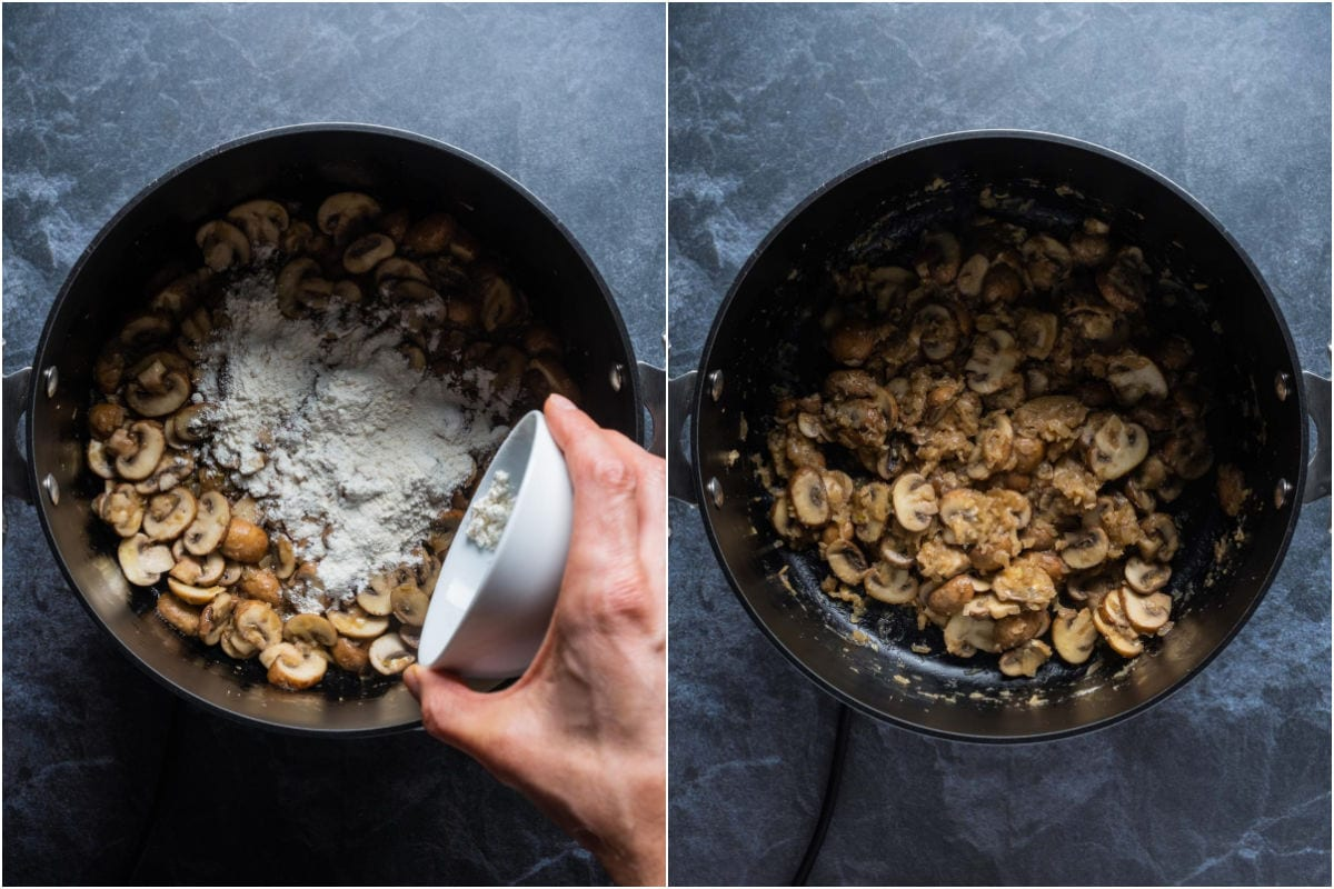 Two photo collage showing flour added to pot and mixed in with mushrooms.