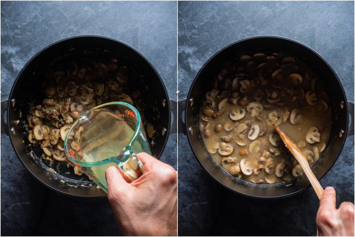 Two photo collage showing vegetable stock added to pot and mixed in.