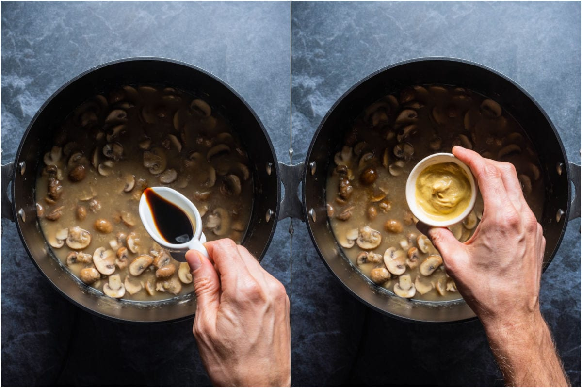 Two photo collage showing soy sauce and dijon mustard added to pot.