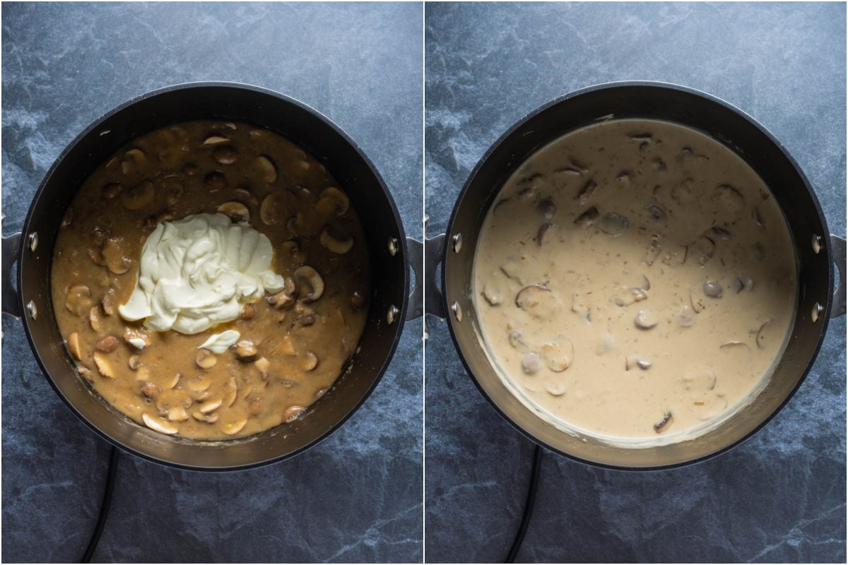 Two photo collage showing sour cream added to pot and mixed in.