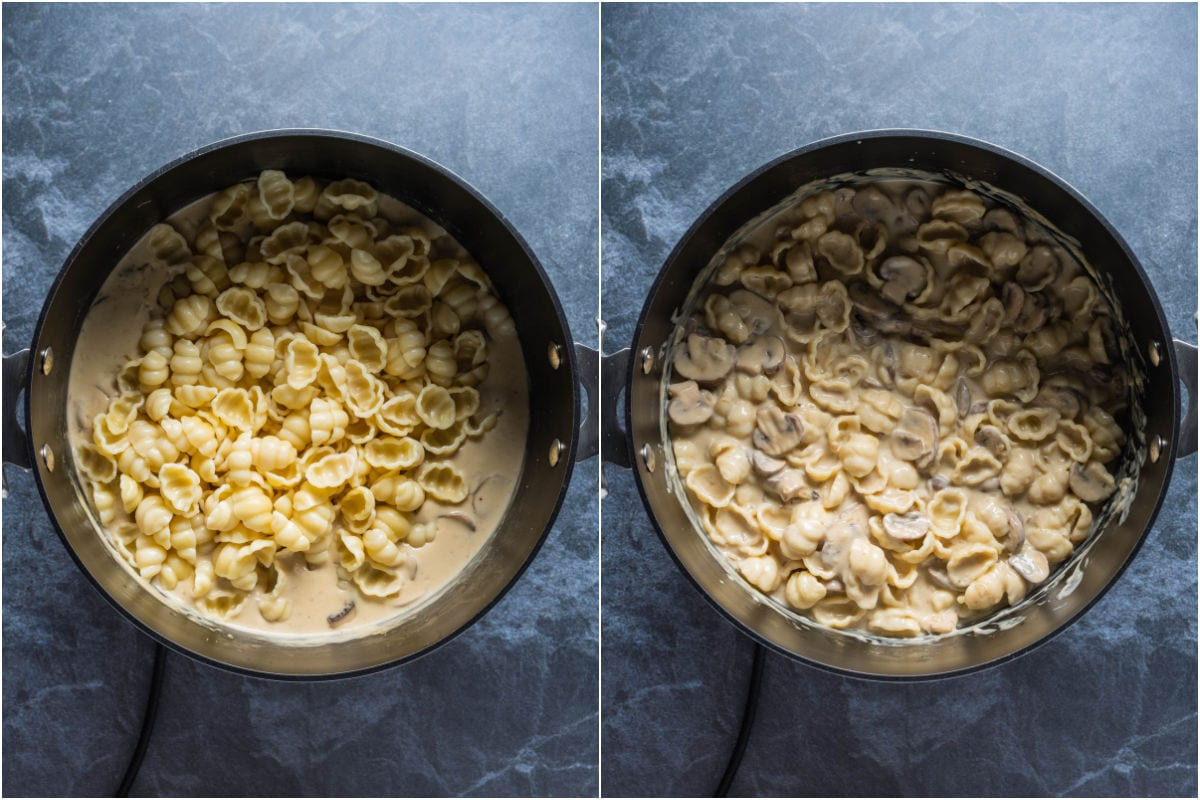 Two photo collage showing cooked pasta added to pot and mixed in with sauce.