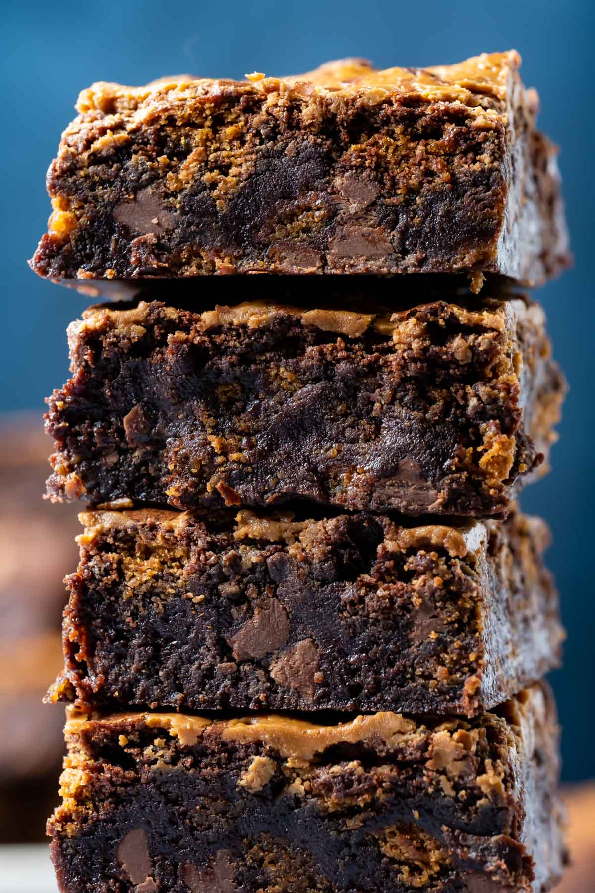 Biscoff brownies in a stack.