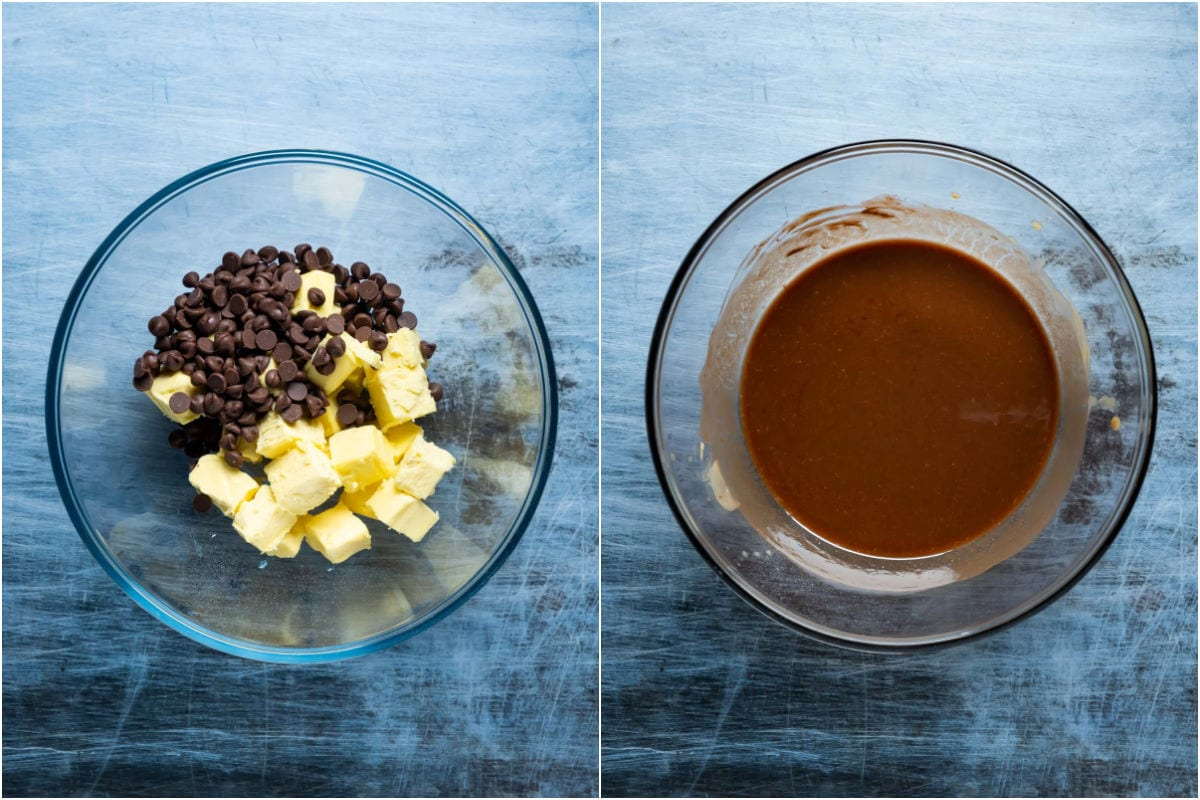 Two photo collage showing butter and chocolate chips added to microwave safe bowl and microwaved until melted.
