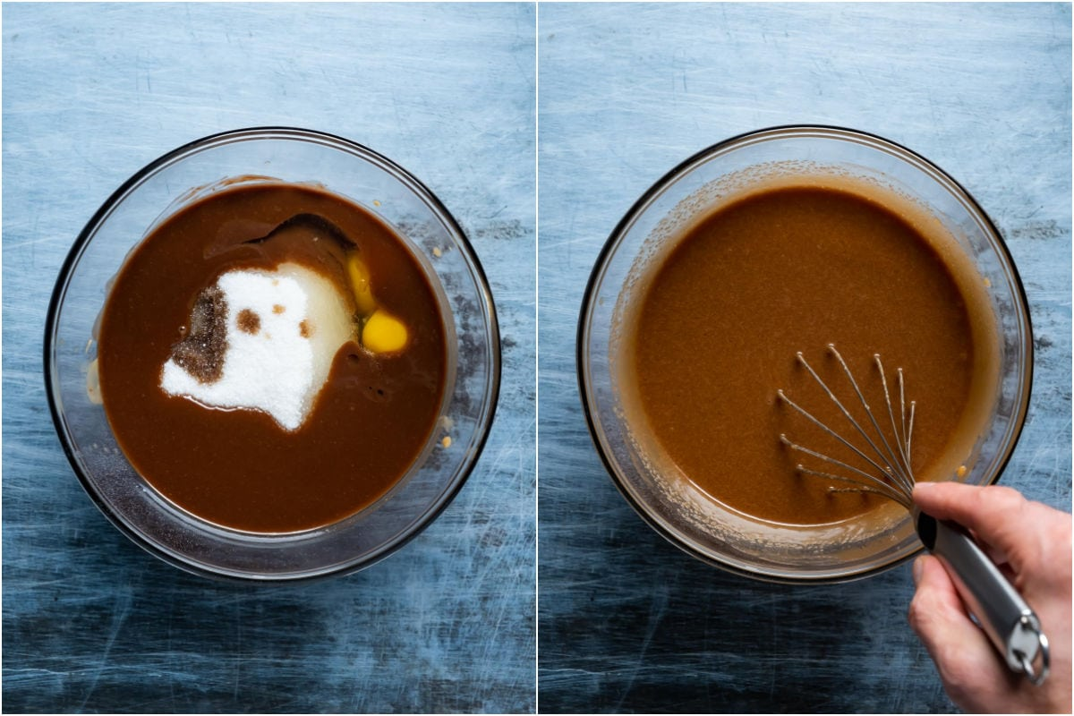 Two photo collage showing sugar, vanilla and eggs added to melted butter and chocolate and whisked in.