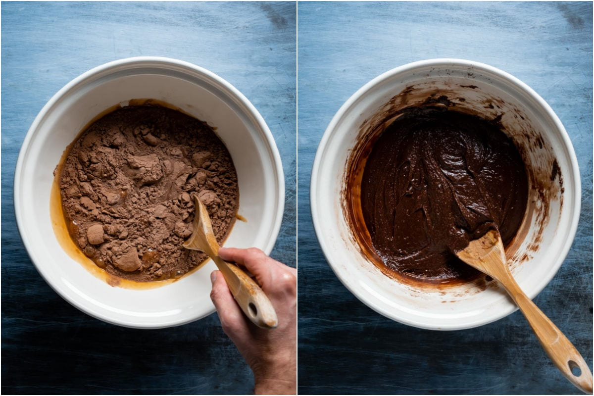 Two photo collage showing dry ingredients added to wet and mixed into a brownie batter.