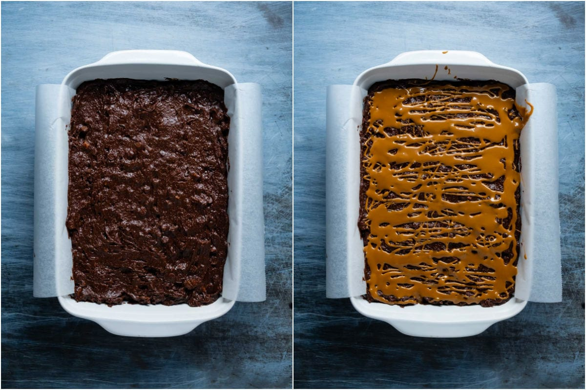 Two photo collage showing brownie batter in 9x13 dish and melted biscoff drizzled on top.