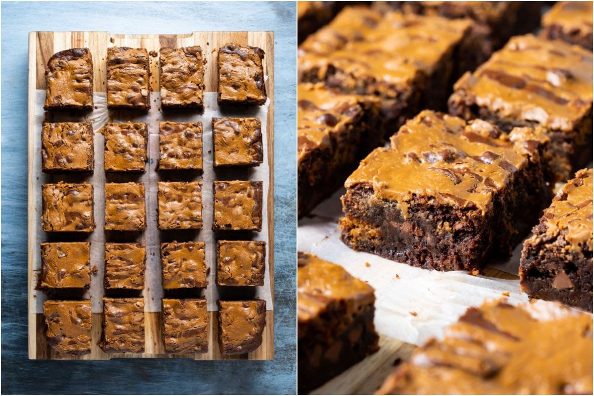 Two photo collage showing brownies cut into squares.