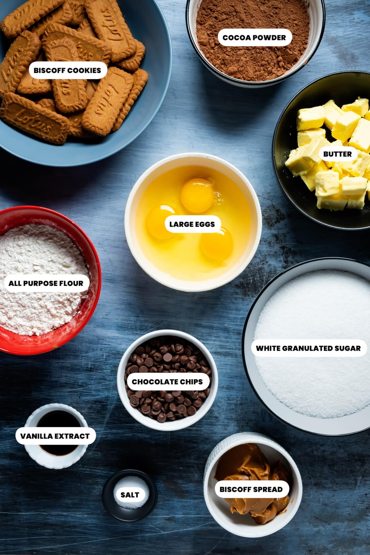 Photo of the ingredients needed to make biscoff brownies.