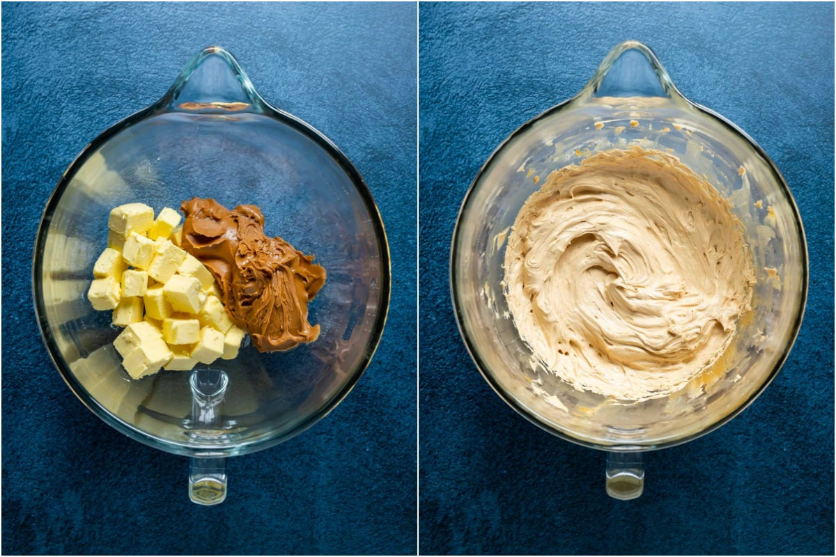 Two photo collage showing butter and biscoff cookie butter added to stand mixer and whisked together.