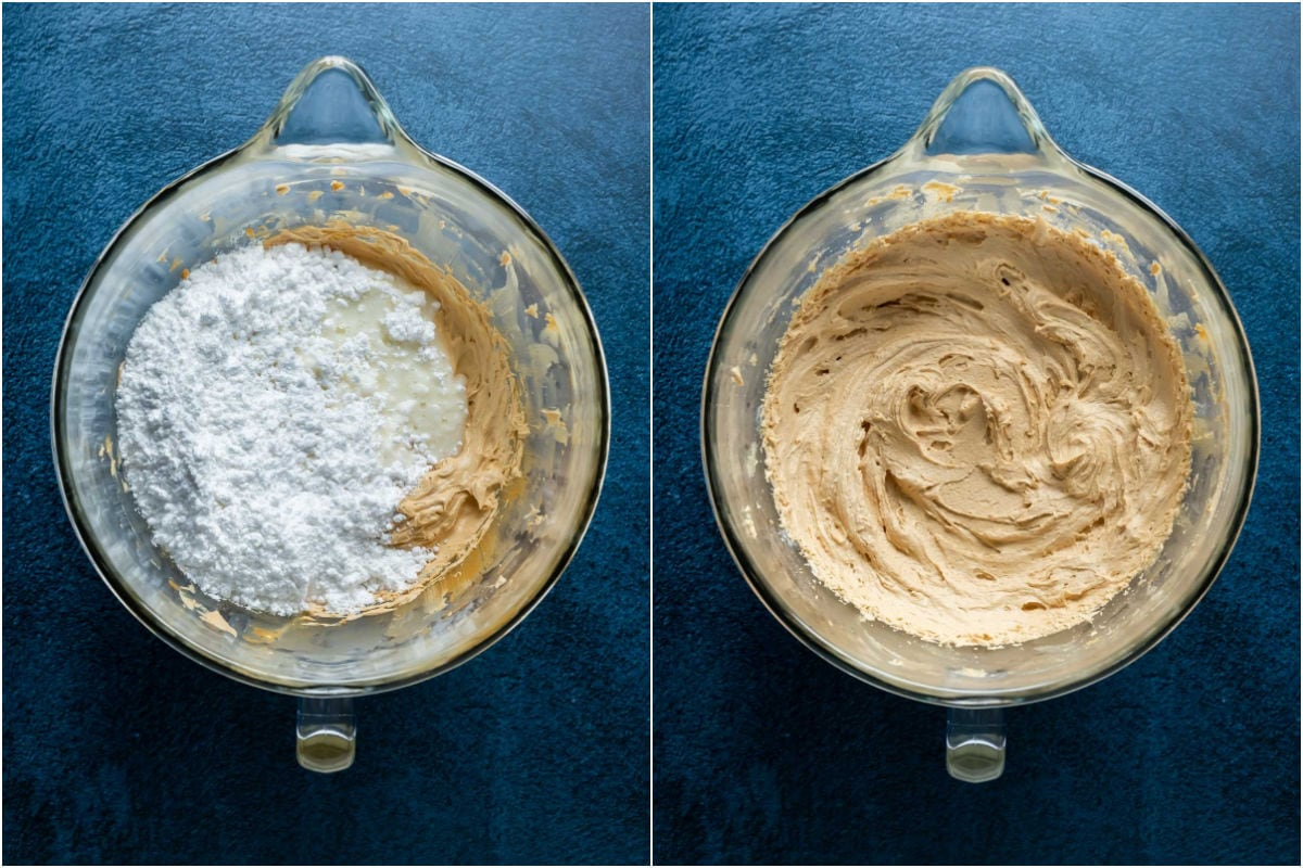 Two photo collage showing powdered sugar and milk added to butter and biscoff cookie butter in the stand mixer and whisked into a buttercream.