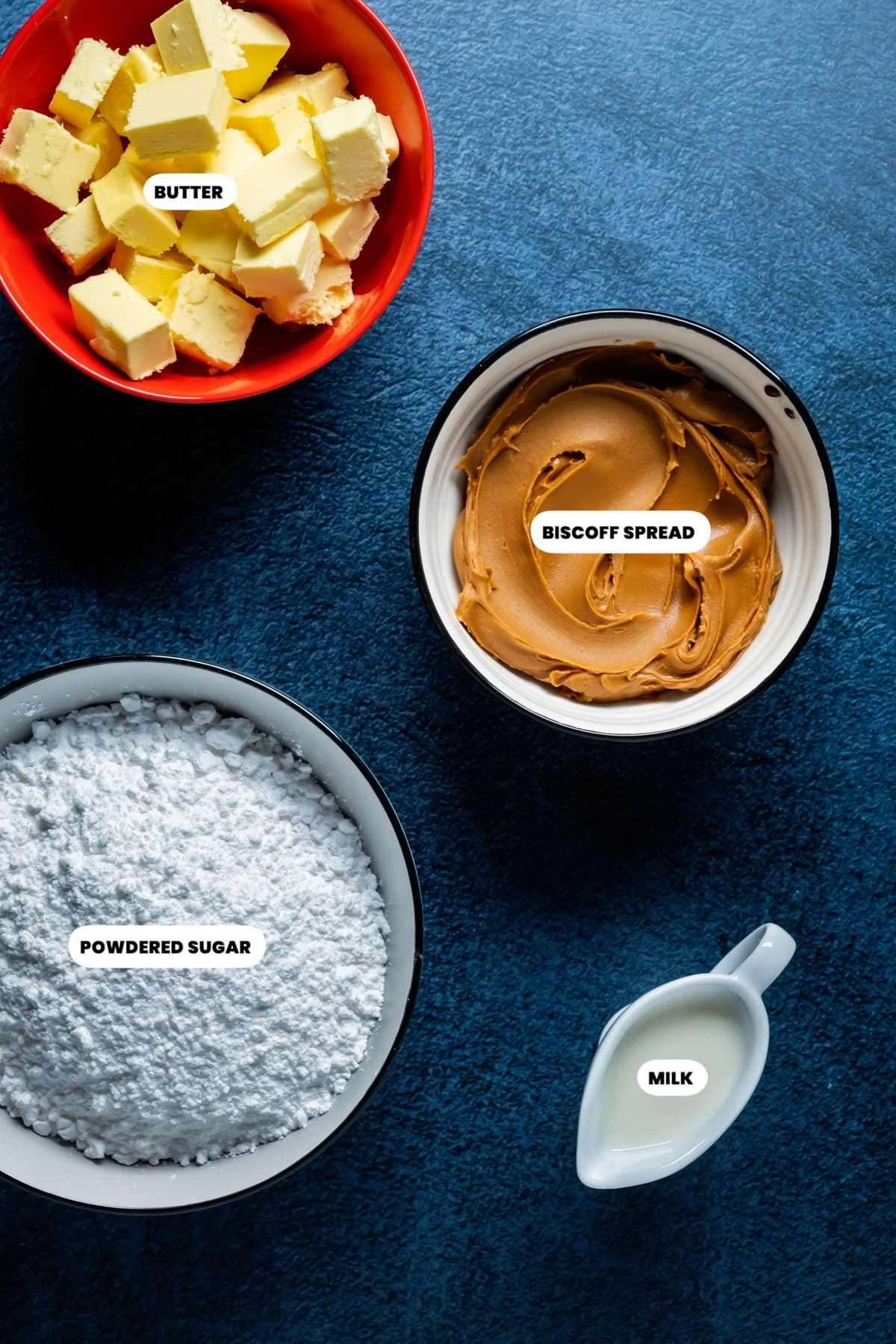 Photo of the ingredients needed to make biscoff buttercream frosting.