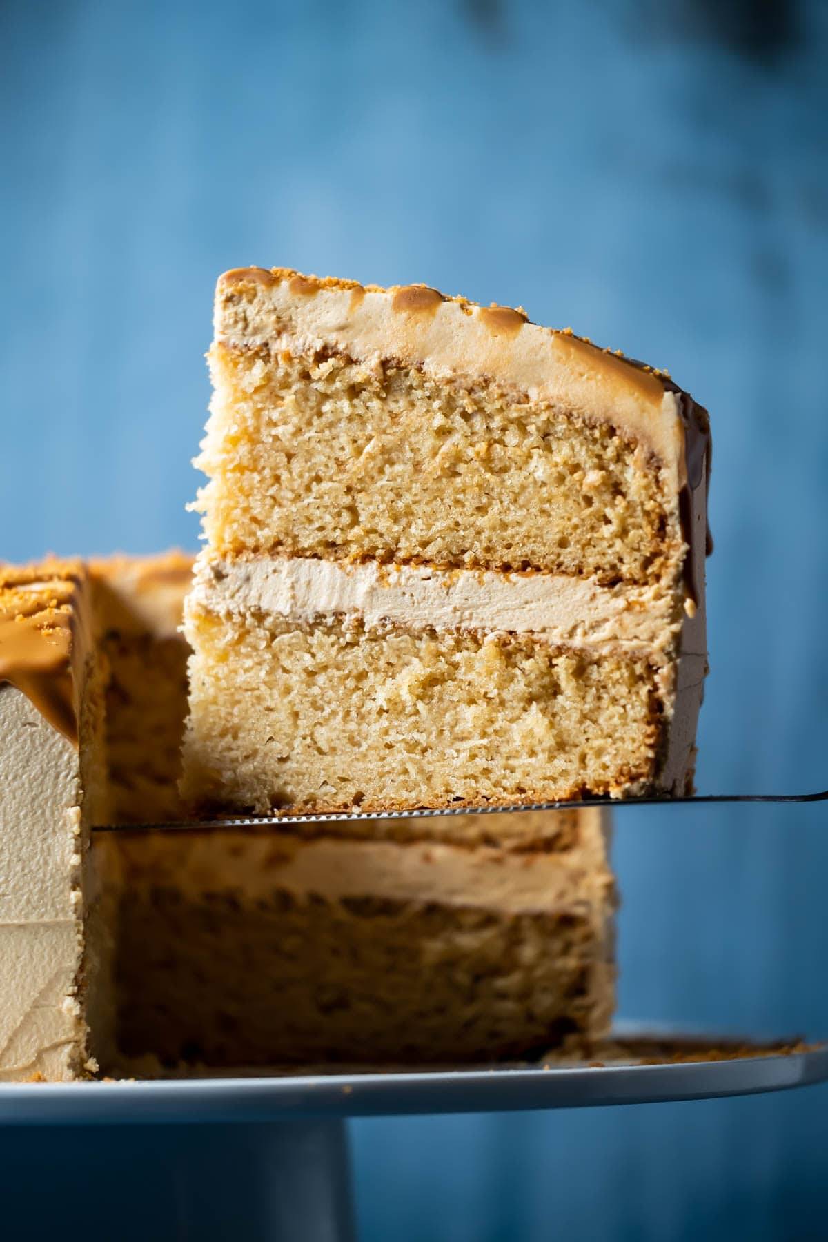Slice of biscoff cake on a cake lifter.