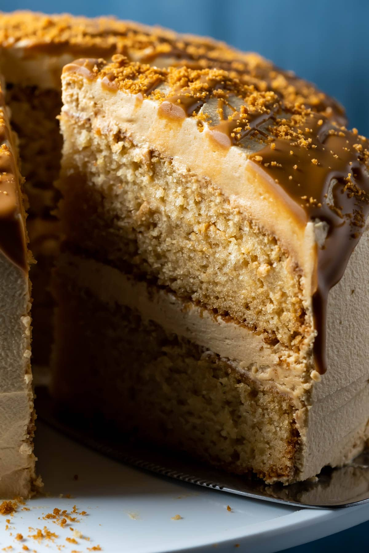 Biscoff cake on a white cake stand with one slice cut and ready to serve.