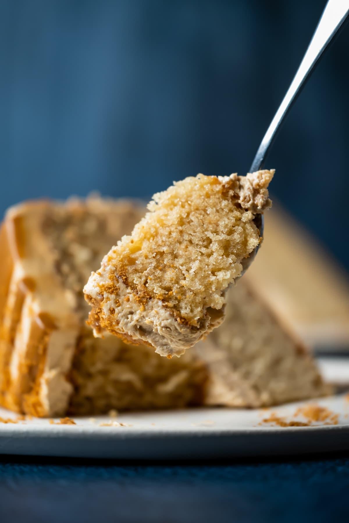 Forkful of biscoff cake.