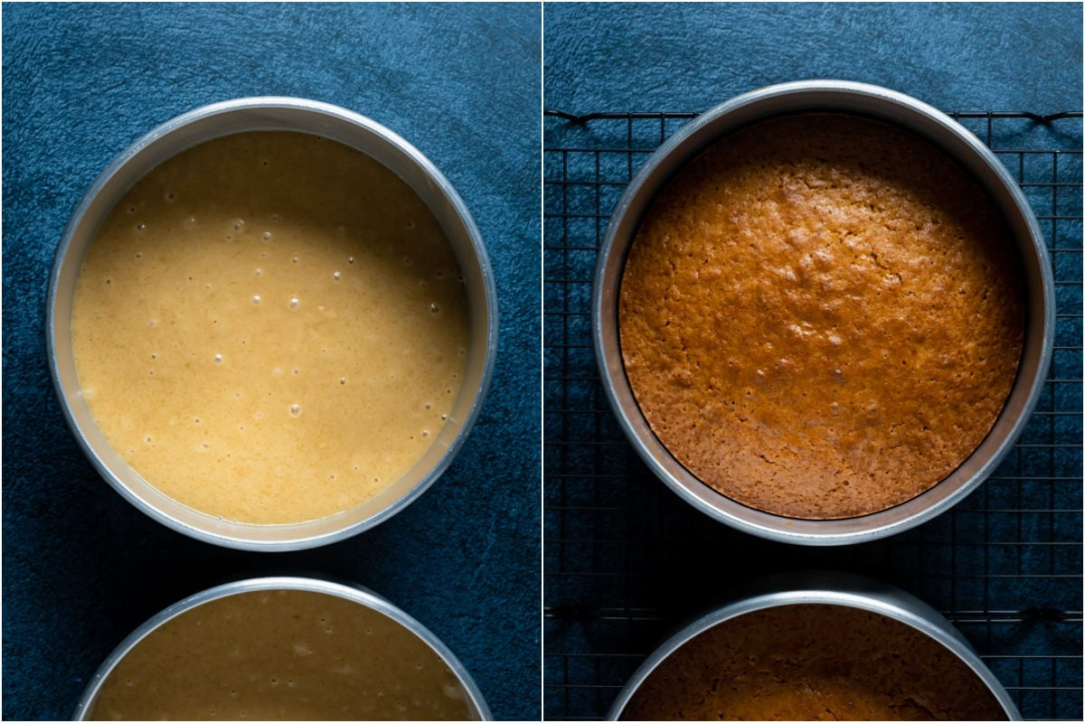 Two photo collage showing biscoff cake in cake pans before and after baking.