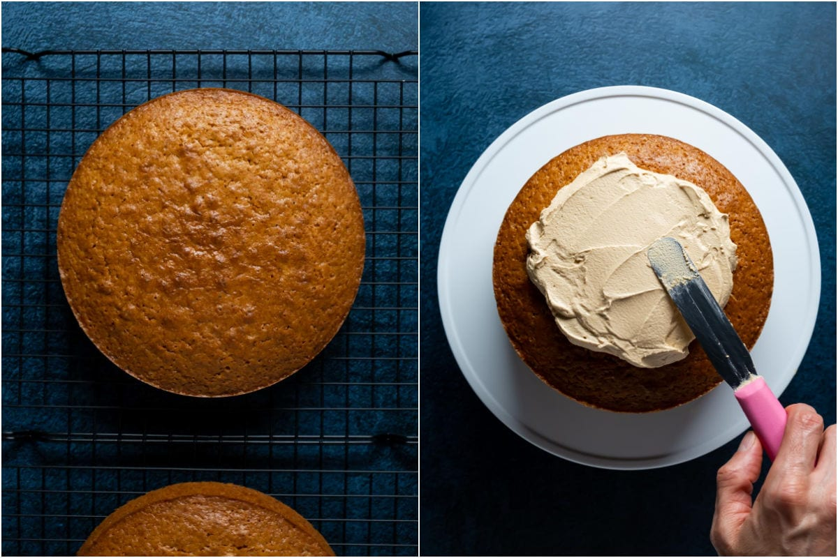 Two photo collage showing biscoff cake layers cooling on a wire cooling rack and then being frosted with biscoff frosting.