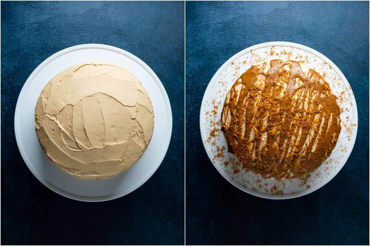 Two photo collage showing frosted biscoff cake on a white cake stand and then decorated with melted biscoff and crushed biscoff cookies.