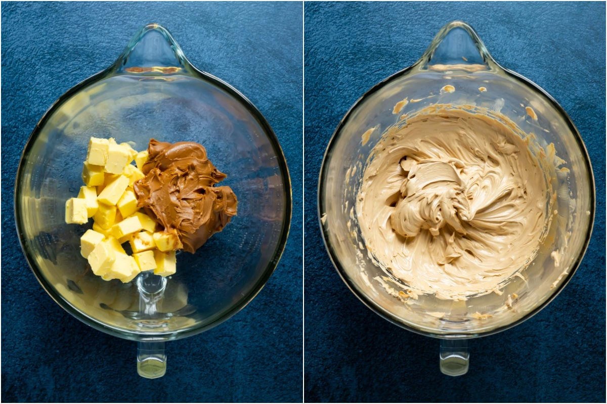 Two photo collage showing butter and biscoff spread added to stand mixer and whisked together.