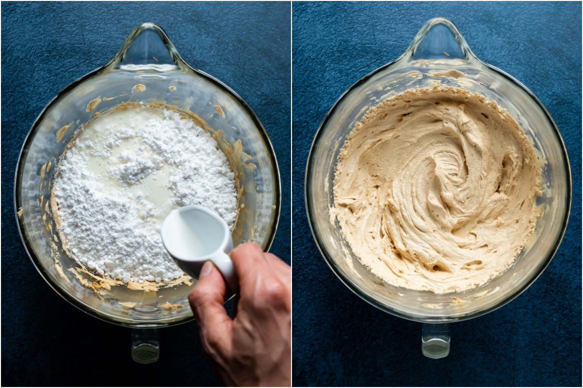 Two photo collage showing powdered sugar and milk added to stand mixer and beaten into a smooth frosting.