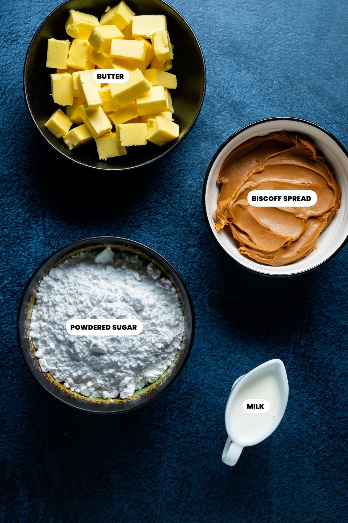 Photo of the ingredients needed to make biscoff buttercream.